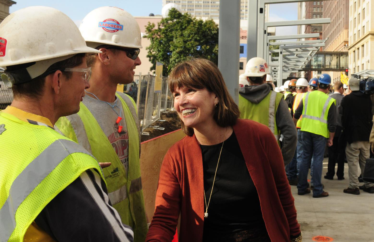 Congresswoman McCollum greets construction workers.