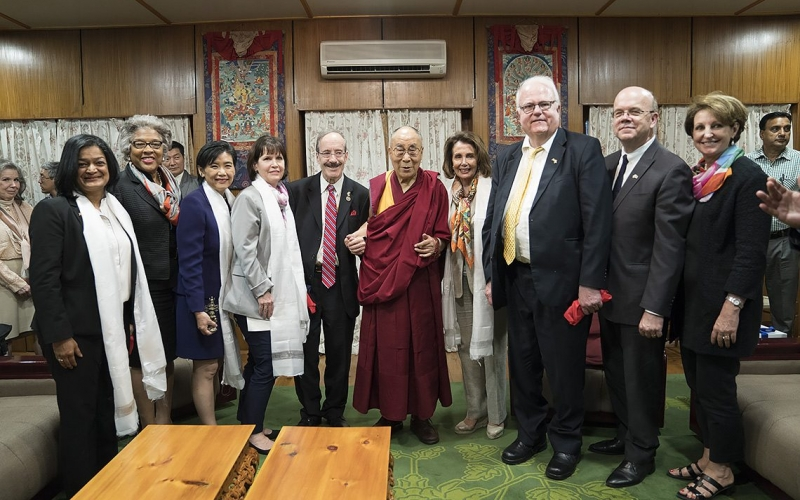 A bipartisan Congressional delegation meets with His Holiness the Dalai Lama.