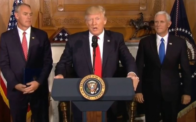 President Trump, flanked by Vice President Pence and Secretary Zinke.