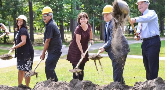 Congresswoman McCollum (center) breaking ground on the new Bug-O-Nay-Ge-Shig School.