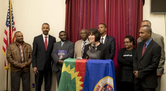 Congresswoman McCollum addresses Minnesota's Oromo community.