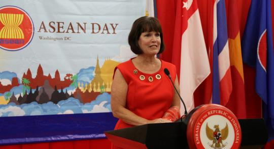 Congresswoman McCollum addresses ASEAN ambassadors and guests.