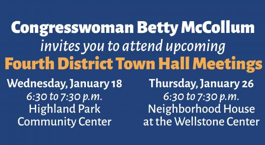 Congresswoman McCollum will hold town hall meetings on Jan. 18 and Jan. 26.